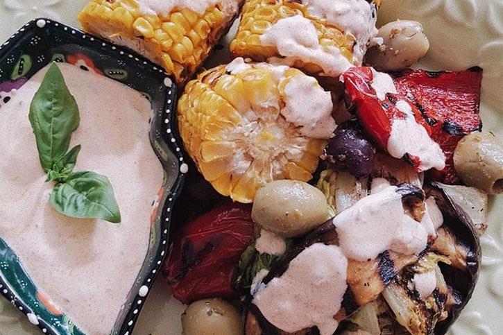 Sweet corn, smoked paprika yoghurt & lime dressing