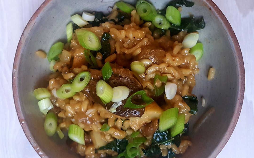 Wild mushroom kale and celeriac risotto from instagram recipe post